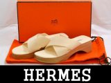 HERMES/エルメス ウッドソールサンダル 白34