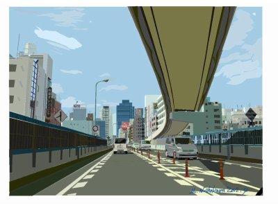 街の風景(精密画ポスター調)