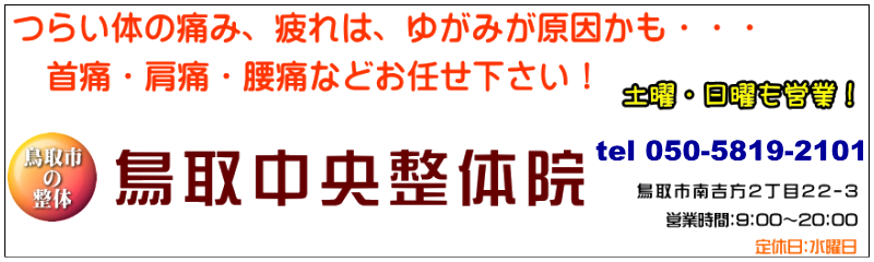 鳥取市の骨盤矯正ならお任せ下さい。鳥取中央整体院