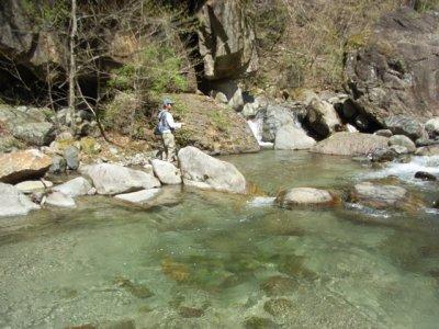 渓流釣りに興味のあるお客さん
