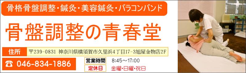 骨盤調整の青春堂 横須賀市の整体、骨盤矯正、腰痛、肩こりなどお気軽にご相談下さい。