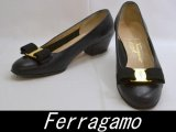 Ferragamo/フェラガモ リボンパンプス ブラック 5C