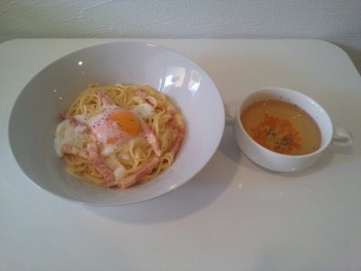 【さくら美人カルボナーラ♪】 スープ付