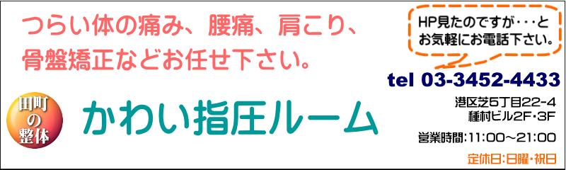 かわい指圧ルーム 田町駅、三田駅からすぐ!の鍼灸治療院、腰痛、肩こりから、美容までお気軽にお越し下さい。
