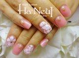 シアリーピンクのお花ネイル♪