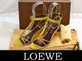 LOEWE/ロエベ ラムスキンアンクレットサンダルゴールド35