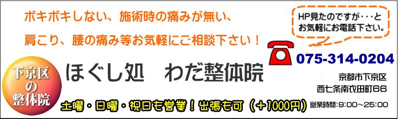 わだ整体院 京都市下京区の整体 腰、肩、首の痛み、骨盤のゆがみ、お気軽にご相談ください。