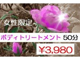 【女性限定】アロマボディトリートメント 50分 ¥3,980