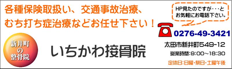 いちかわ接骨院 太田市の接骨院、交通事故治療、むち打ち症治療などお気軽にご相談下さい。