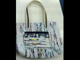裂き織りのトートバッグ(中)