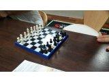 女性スタッフとチェス